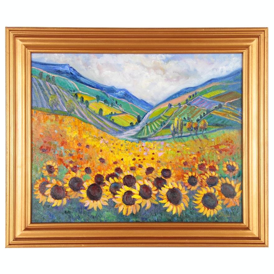 "Thea Mamukelashvili Acrylic Painting ""Sunflower Field"", 2020"
