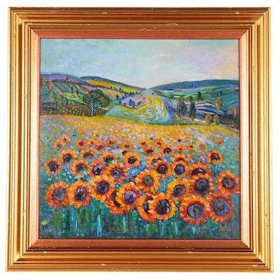"Thea Mamukelashvili Oil Painting ""Sunflower Field"", 2020"