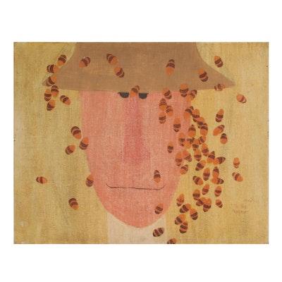 "Naomi Burchett Oil Painting ""Bee Keeper"", 1969"