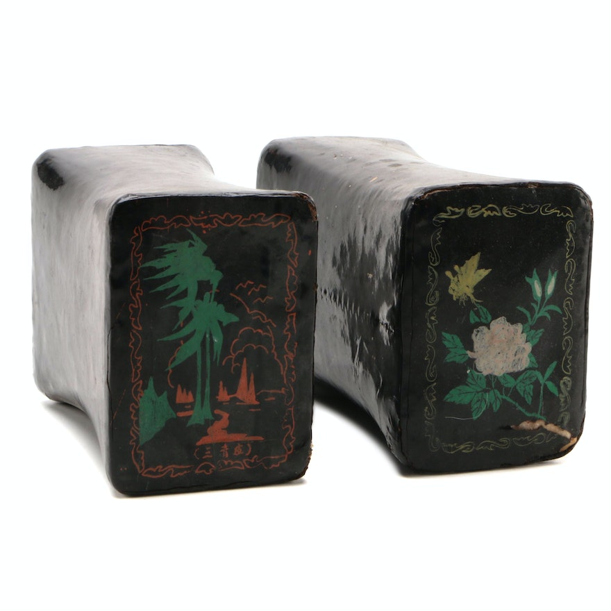 Chinese Laquerware Opium Pillows