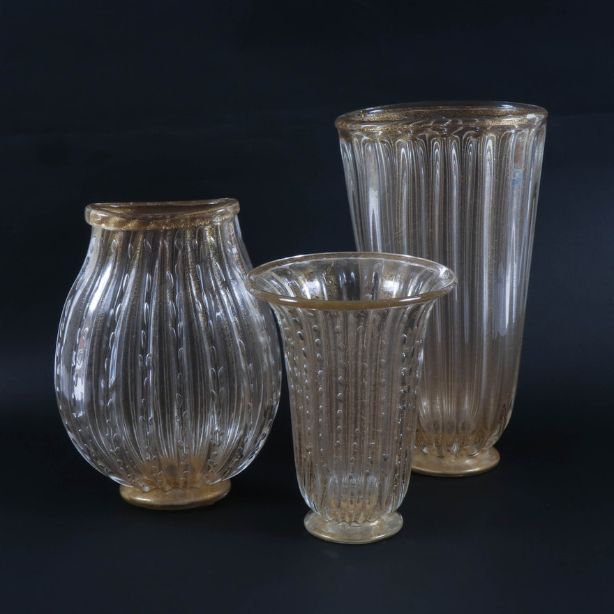 Murano Style Speckled Gold Large Glass Vases