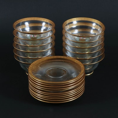 Hand-Painted Gold Encrusted Glass Dessert Cups and Saucers, Mid-20th Century