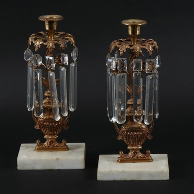 Cast Brass and Crystal Urn-Shaped Candlesticks, Early 20th Century