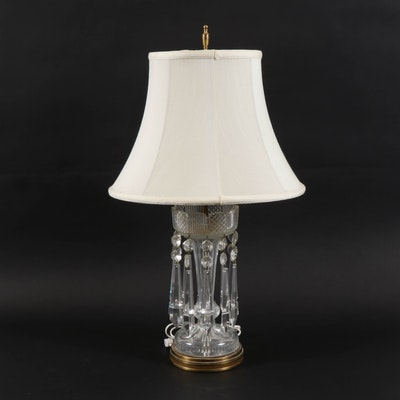 Crystal and Glass Table Lamp with Fabric Bell Shade, Late 20th Century