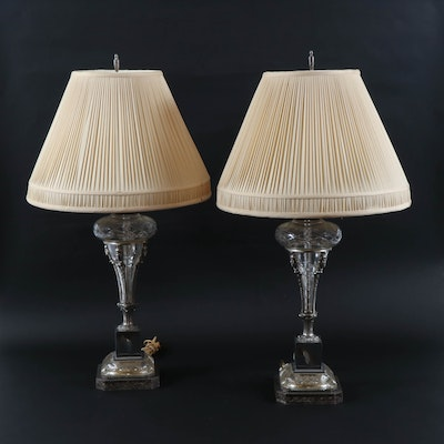 Pair of Neoclassical Style Etched Glass & Metal Table Lamps with Pleated Shades