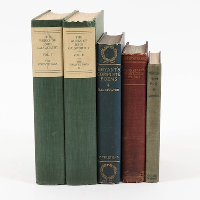 """""""The Forsyte Saga"""" Two-Volume Set with Poetry Books Including Bryant and Poe"""