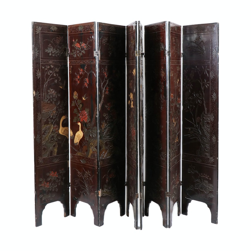 Chinese Lacquer and Papier-Mâché Eight-Panel Room Divider, Early 20th Century