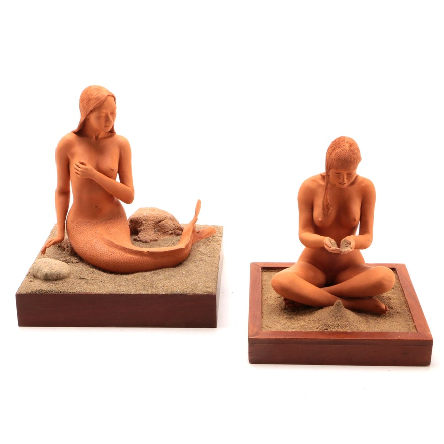 Terracotta and Sand Figural Mermaid Sculptures, 21st Century