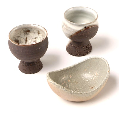 Japanese Art Pottery Stoneware Cups and Dipping Sauce Bowl