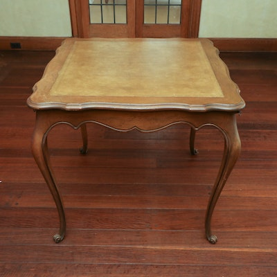 Queen Anne Style Table with Gilt-Trim Leather Inlay, 20th Century