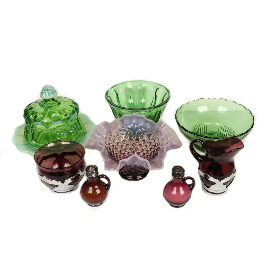 Opalescent and Pressed Glass Covered Butter, Ruffled Footed Bowl and More