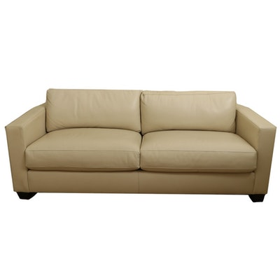 Bernhardt Ivory Leather Sofa from David Millett Inc.