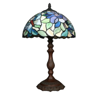 Dale Tiffany Butterfly Floral Slag Glass Table Lamp, Late 20th Century