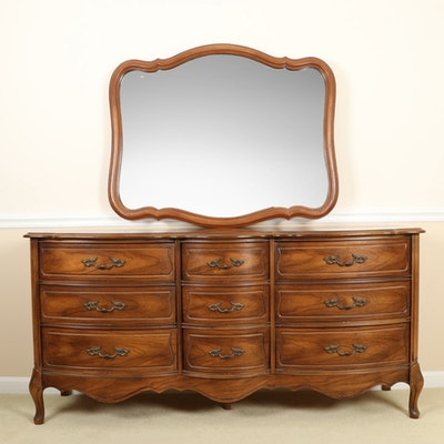 Broyhill French Provincial Louis XV Style Dresser with Mirror, Late 20th Century