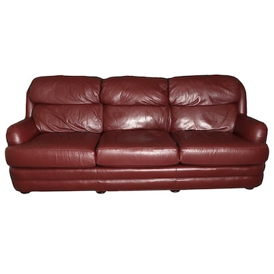 Classic Leather Brand Burgundy Leather Sofa