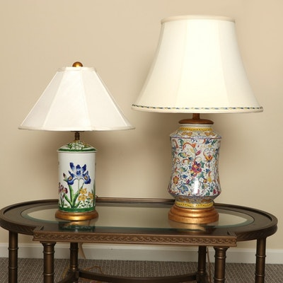 Table Lamps Including a Frederick Cooper Deruta Style Lamp, 21st Century