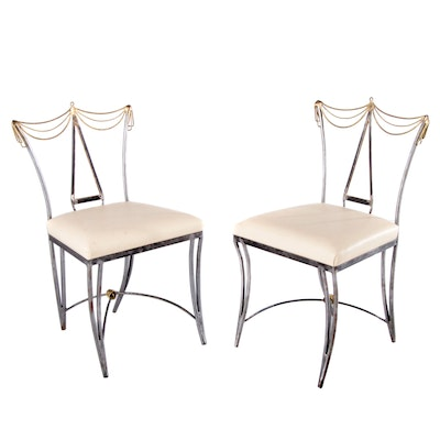 Mario Villa Neoclassical Brass and Metal Dining Chairs, Late 20th Century
