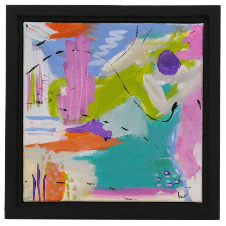 """Susan Crew Abstract Acrylic Painting """"All that Jazz 3"""", 21st Century"""