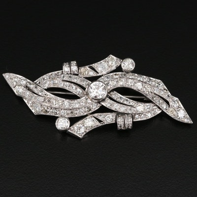 Platinum 6.24 CTW Diamond Ribbon Motif Brooch