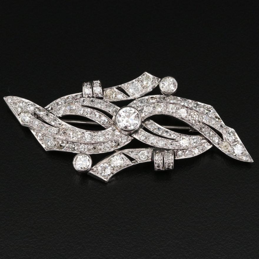 Platinum 6.24 CTW Diamond Ribbon Motif Brooch