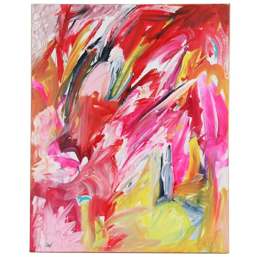 "Susan Crew Abstract Acrylic Painting ""Eros 2"", 21st Century"