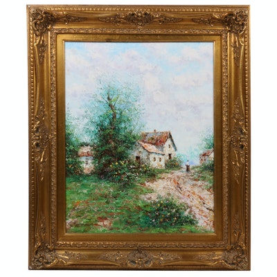 Theo Raucher Impasto Oil Painting of Countryside Landscape
