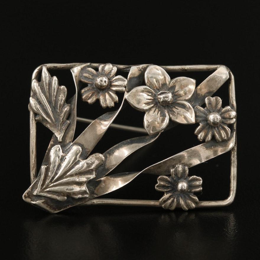 Vintage Sterling Floral Brooch