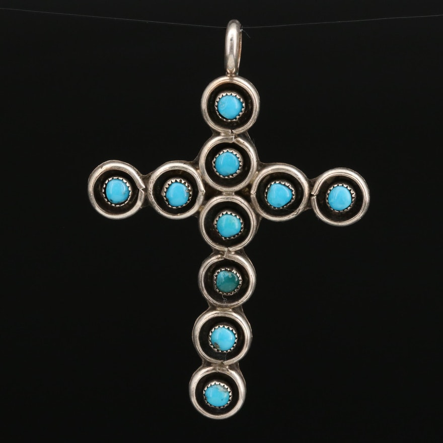Western Sterling Silver Turquoise Cross Pendant