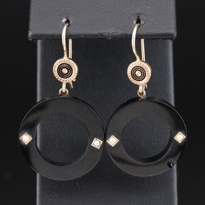 Victorian 14K Resin and Pearl Mourning Earrings