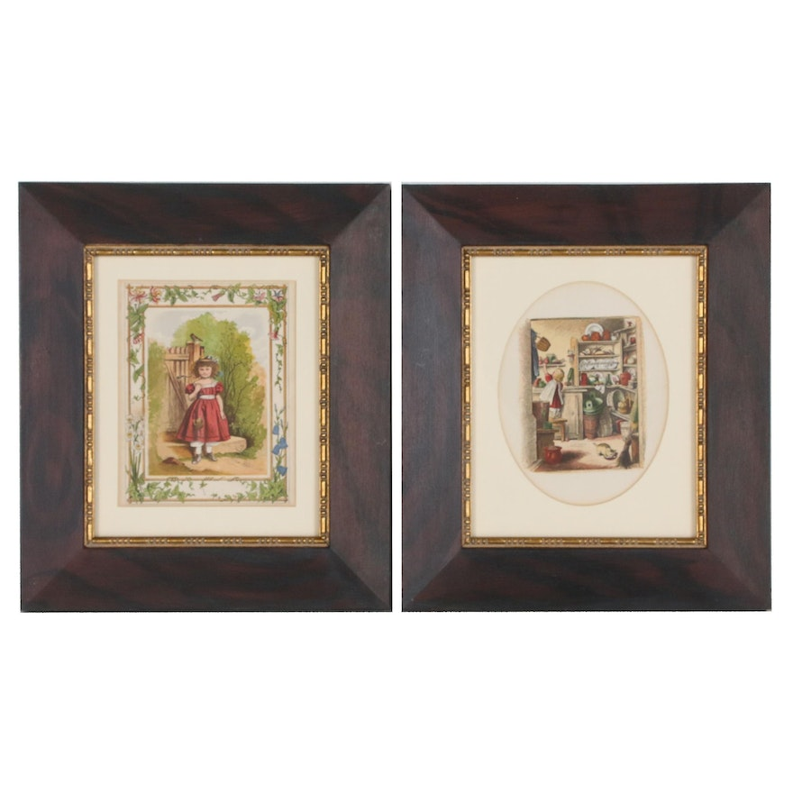 Hand-Colored Genre Engravings of Child and Kitchen