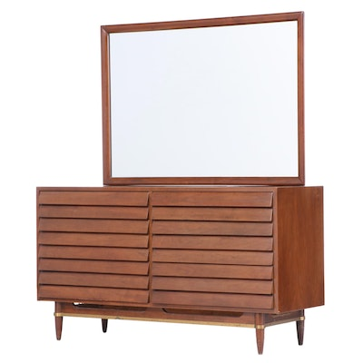 American of Martinsville Mid Century Modern Brass-Mounted Walnut Dresser