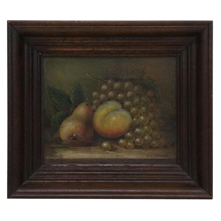 F.C. Munsch Still Life Oil Painting of Fruit, 1908