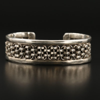 Mexican Sterling Woven Motif Cuff