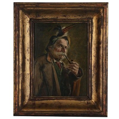 Georg Roessler Oil Portrait on Canvas of German Man with Pipe