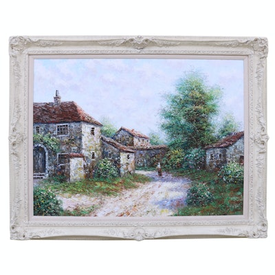 Theo Raucher Impressionist Impasto Oil Painting of Countryside