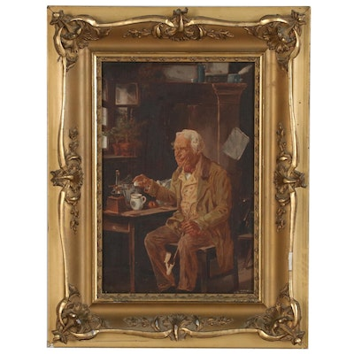 Interior Oil Painting of Man with Pipe, 19th Century