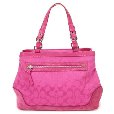 Coach Pink Signature Canvas and Suede Shoulder Bag