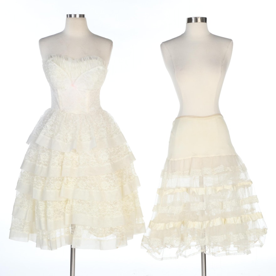 Union Made Tiered Lace Strapless Dress with Crinoline Petticoat, Vintage