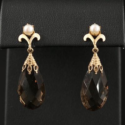 14K Smoky Quartz and Pearl Drop Earrings