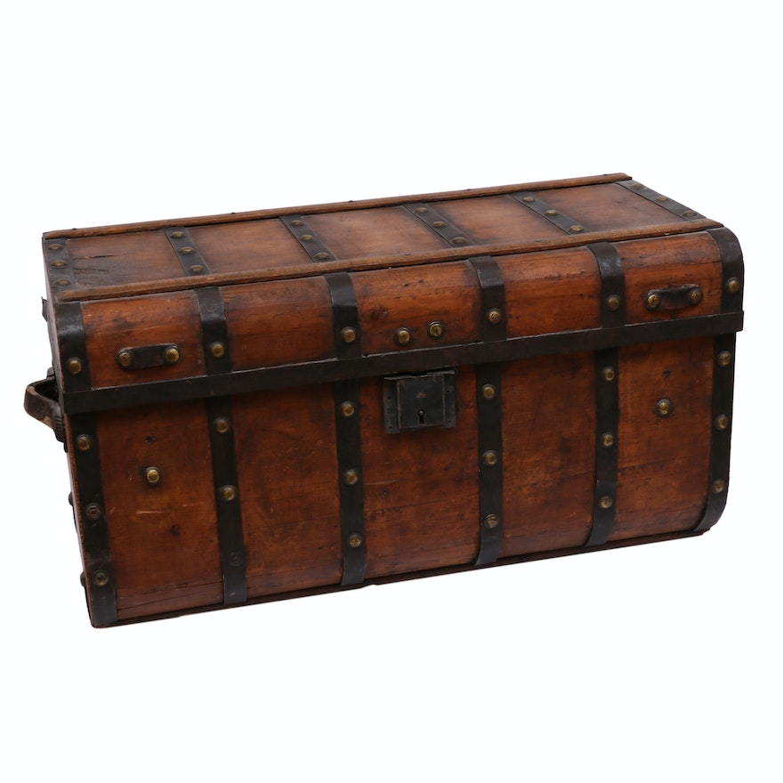 Late Victorian Metal-Mounted Wooden Flat-Top Steamer Trunk, Late 19th/Early 20th