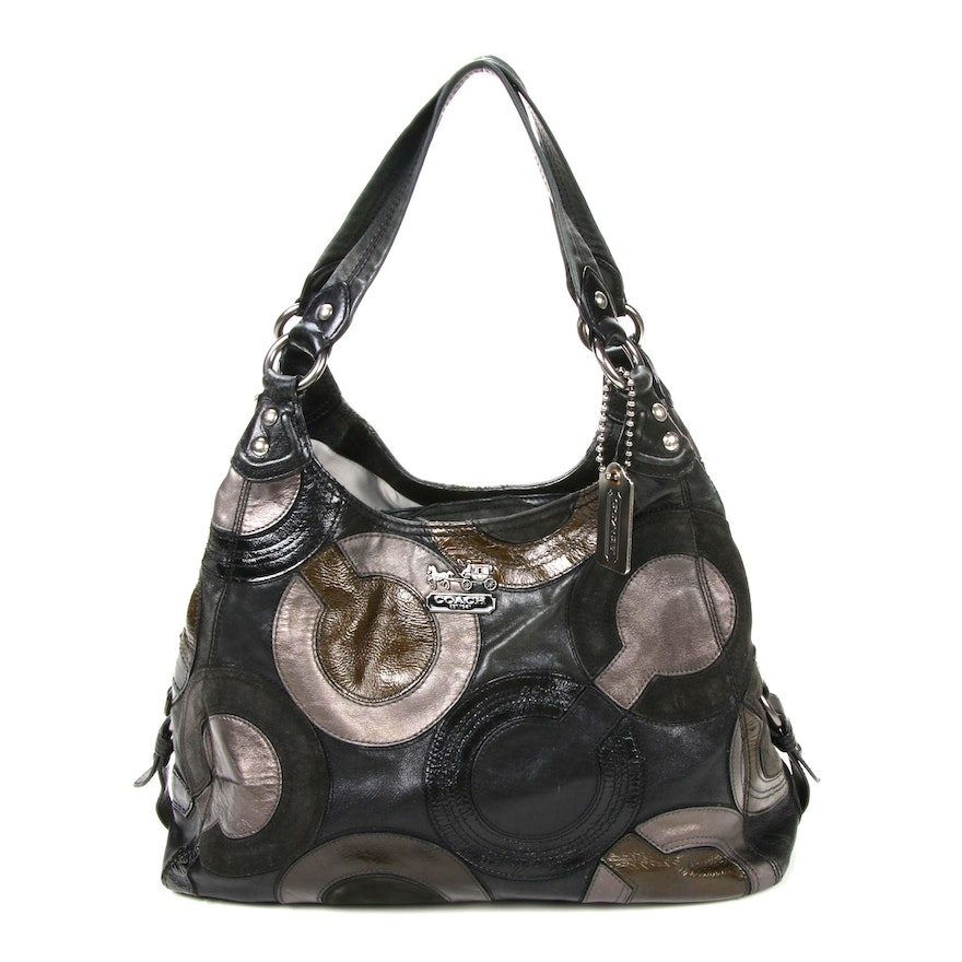 Coach C Signature Leather Patchwork Hobo Bag