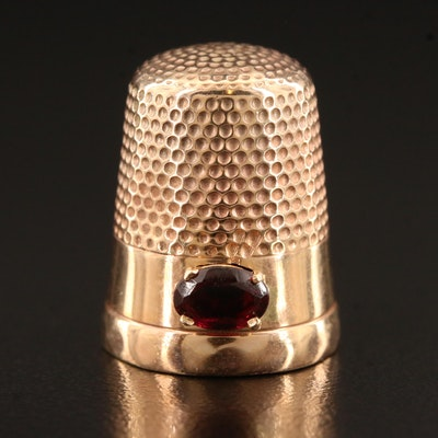 Waite Thresher Co. 10K Thimble with Rhodolite Garnet