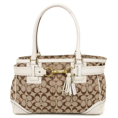 Coach Signature Canvas with White Leather Trim Shoulder Bag