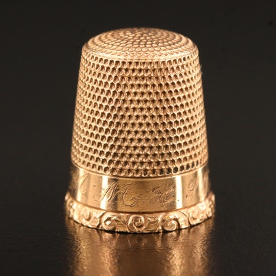 Vintage 10K Thimble with Etched Scrolling Detail