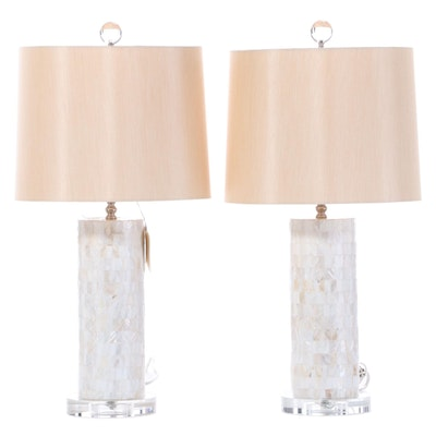 Pair of Contemporary Mother of Pearl and Acrylic Table Lamps with Drum Shades