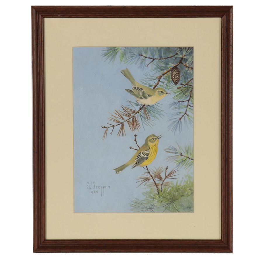 E.W. Steffen Watercolor Painting of Birds, 1964