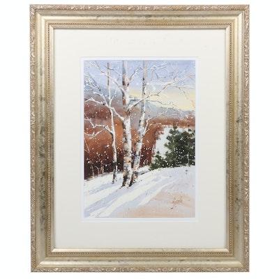 """B.J. Cole Watercolor Painting """"Intermediate Slope II"""", 2011"""