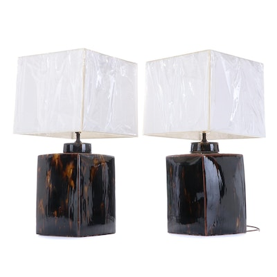 Pair of Glazed Ceramic Lamps with Allure Shades Inc Paper Shades