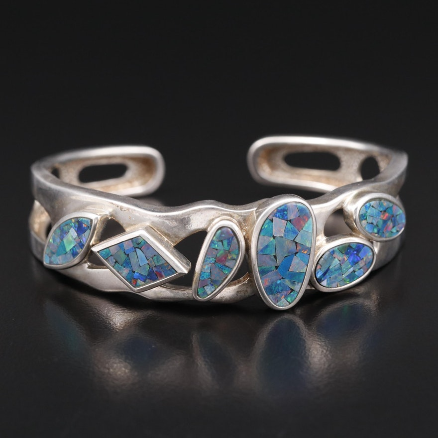 Sterling Silver Opal Mosaic Cuff