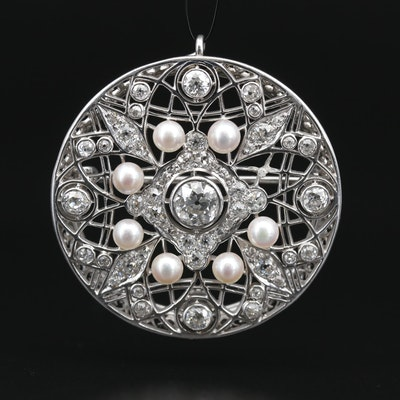 Edwardian Platinum 3.25 CTW Diamond and Pearl Openwork Converter Brooch